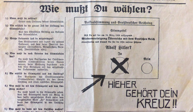 Wahlempfehlung aus Grenzmarkzeitung 8.April 1938, ©BLA